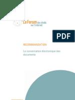 La conservation électronique des documents