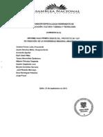 Informe de Primer Debate del Proyecto de Ley de Creación de la Universidad Regional Amazónica IKIAM