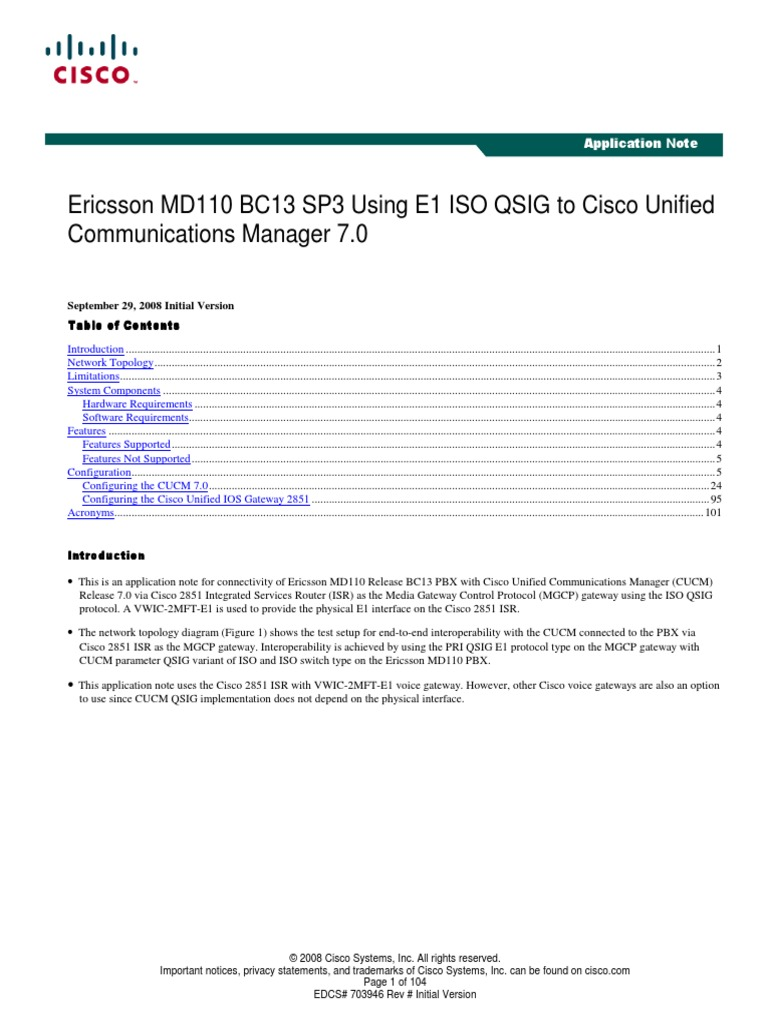 MD110 Using QSIG to Cisco | Gateway (Telecommunications) | Computer