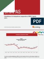 Estadísticas de trabajadores asegurados al IMSS en Chiapas, agosto de 2013