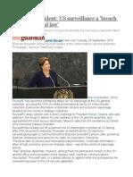 Brazilian President US Surveillance a 'Breach of International Law'