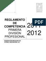 01_Reglamento de Competencia Primera División Profesional 2011-2012