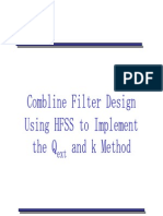 Combline Filter Design Using HFSS to Implement the Qext and k Method