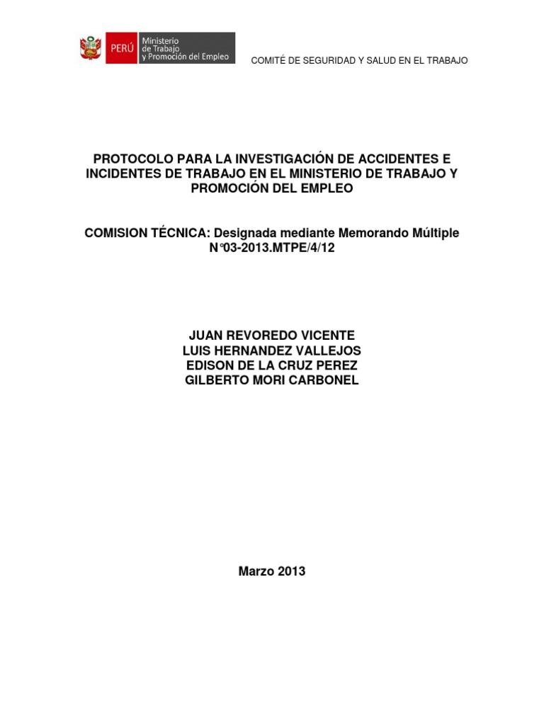 PROTOCOLO PARA LA INVESTIGACIÓN DE ACCIDENTES MINTRA