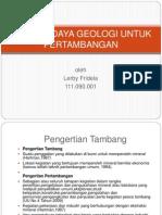 Sumber Daya Geologi Untuk Pertambangan