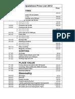 Price List 2013