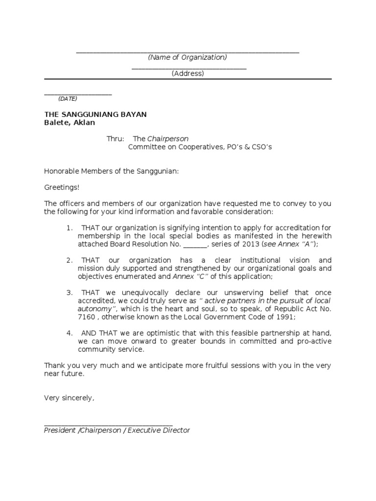 Letter Of Intent For Accreditation
