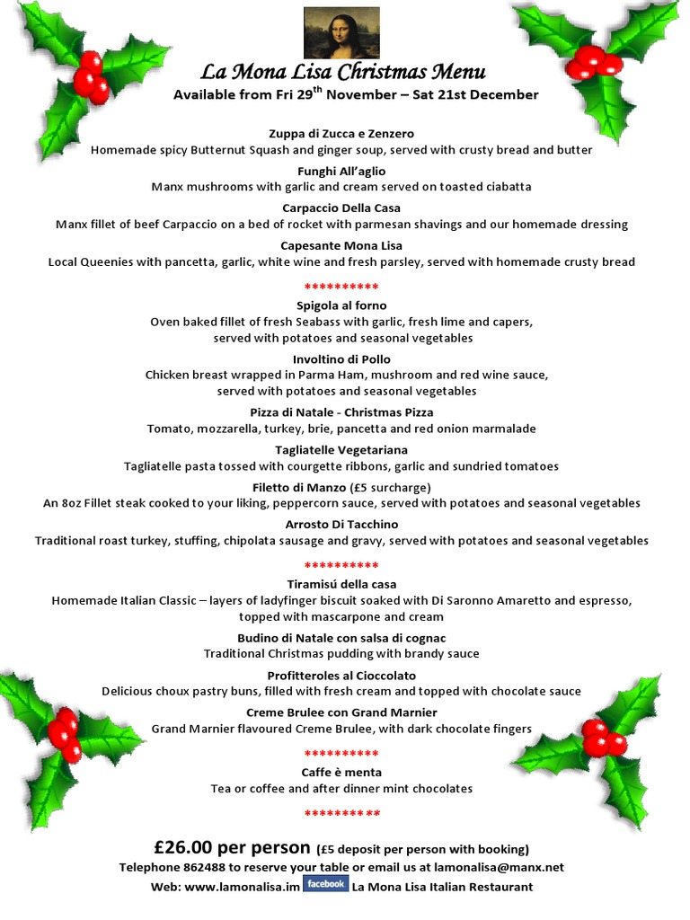 La Mona Lisa - Christmas Dinner Menu 2013 - £26