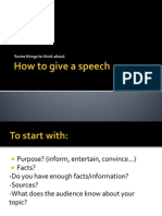 How to give a speech - några tips