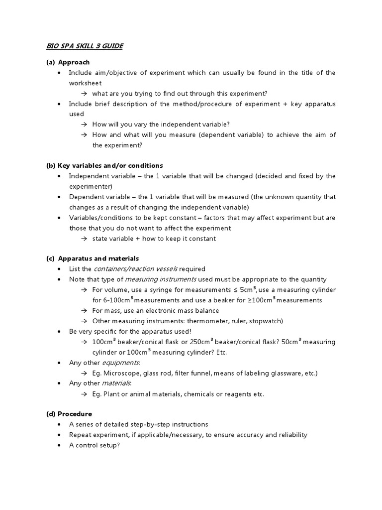 Biology Spa Skill 3 Guide Experiment – Independent and Dependent Variables Worksheet