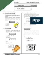 III BIM - Aritmetica - 5to. año -  Guía 6 - Sustracción (val