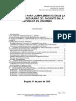 LINEAMINETOS IMPLEMETACIÓN  POLITICA DE SEGURIDAD DEL PACIENTE, 2008