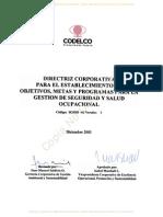 Directriz Corp. Objetivos, Metas y Programas SSO