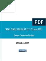 Fatal Crane Incident - October 2007