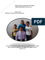 Informe Misionero a Julio 2013-Sincelejo, Distrito 24