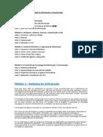 Estrutura do curso Tecnologia da Informação e Comunicação