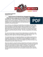 Statement from Portland Pirates Managing Owner/CEO 