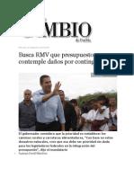 25-09-2013 Diario Matutino Cambio de Puebla - Busca RMV que presupuesto contemple daños por contingencia