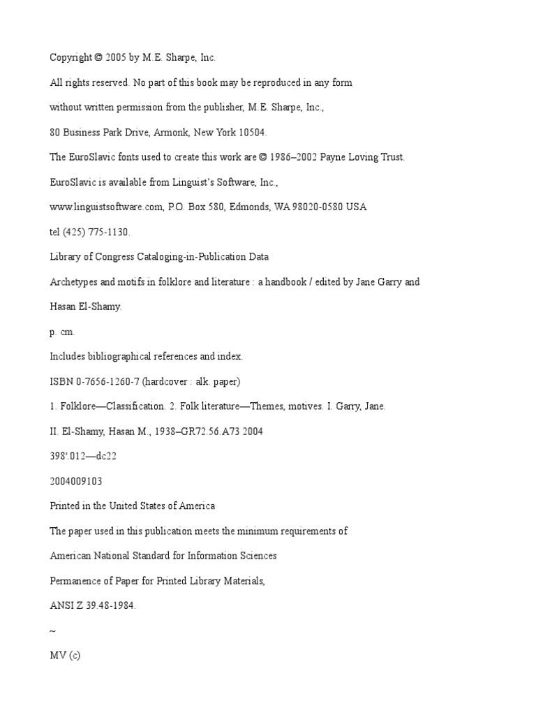 Archetypes and motifs in folklore and literature a handbook archetypes and motifs in folklore and literature a handbook edited by jane garry and hasan el shamy mythology fairy tales buycottarizona