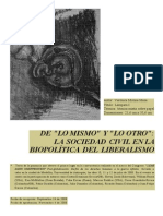 De Lo Mismo y Lo Otro La Sociedad Civil en La Biopolitica Del Liberalismo