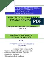IMSS ESCUELA ENFERMERÍA  ESTADÍSTIC VARIABLES Y ESCALAS