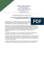 Mayor Statement on Northampton Police Investigation 092613
