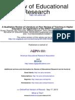 Peer Review Teaching in Higher Education
