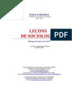 Emile Durkheim Leçons de sociologie (1890-1900)