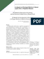 BERNARDES (2010). O método de pesquisa na psicologia histórico-cultural
