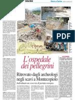 L'Ospedale dei Pellegrini ritrovato dagli archeologi a Montecopiolo - Il Resto del Carlino del 24 agosto 2013