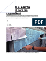 Consulte el padrón electoral para las Legislativas