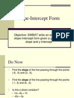 Slope Intercept Form