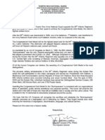 Puerto Rico National Guard Letter to Members of Congress supporting Borinqueneers CGM