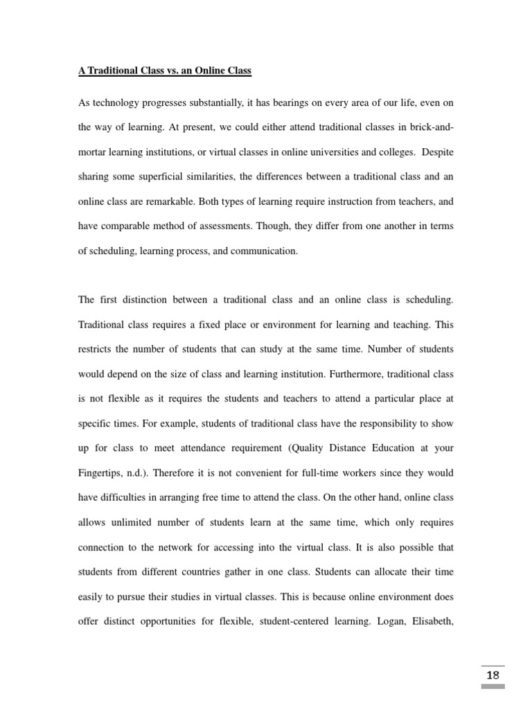 compare and contrast essay a traditional class vs an online class  compare and contrast essay a traditional class vs an online class educational technology distance education