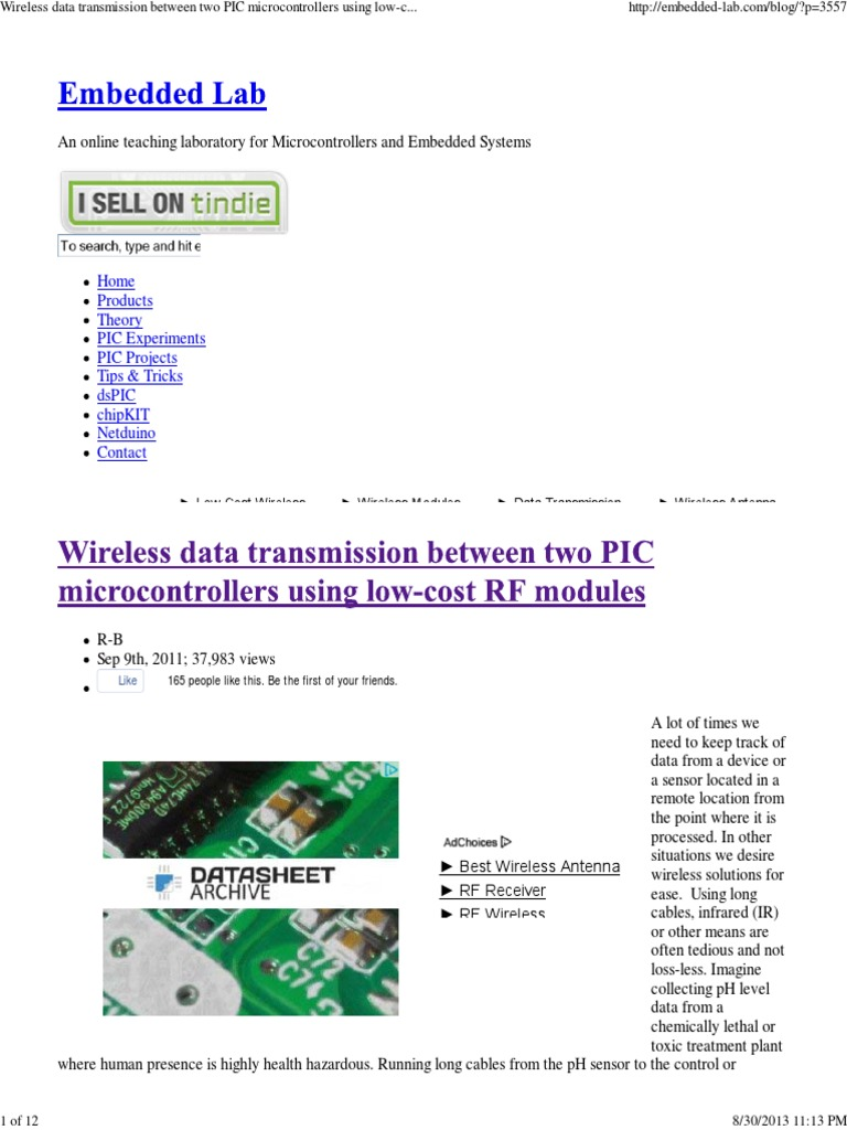 Wireless Data Transmission Between Two Pic Microcontrollers Using Circuits Xbee Dspic33 Pic24 Code Proteus Simulation Low Cost Rf Modules Embedded Lab Microcontroller