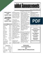 Shabbat Announcements, July 11, 2009
