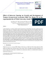 Effect of Intra-row Spacing on Growth and Development of Tomato (Lycopersicum esculentum Mill) Var. Roma VF, at the experimental site of Wollo University, South Wollo, Ethiopia