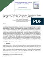 Assessment Of Production Potentials And Constraaints Of Mango (Mangifera INDICA) At Bati, Oromia Zone, Ethiopia