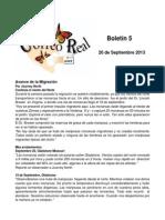 Boletín 5 de correo real de las mariposas monarca. temporada 2013-2015
