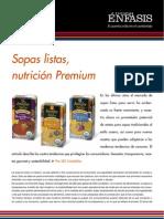 Sopas listas, nutrición Premium