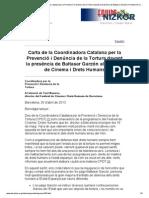 Carta de La Coordinadora Catalana Por La Prevencion de La Tortura