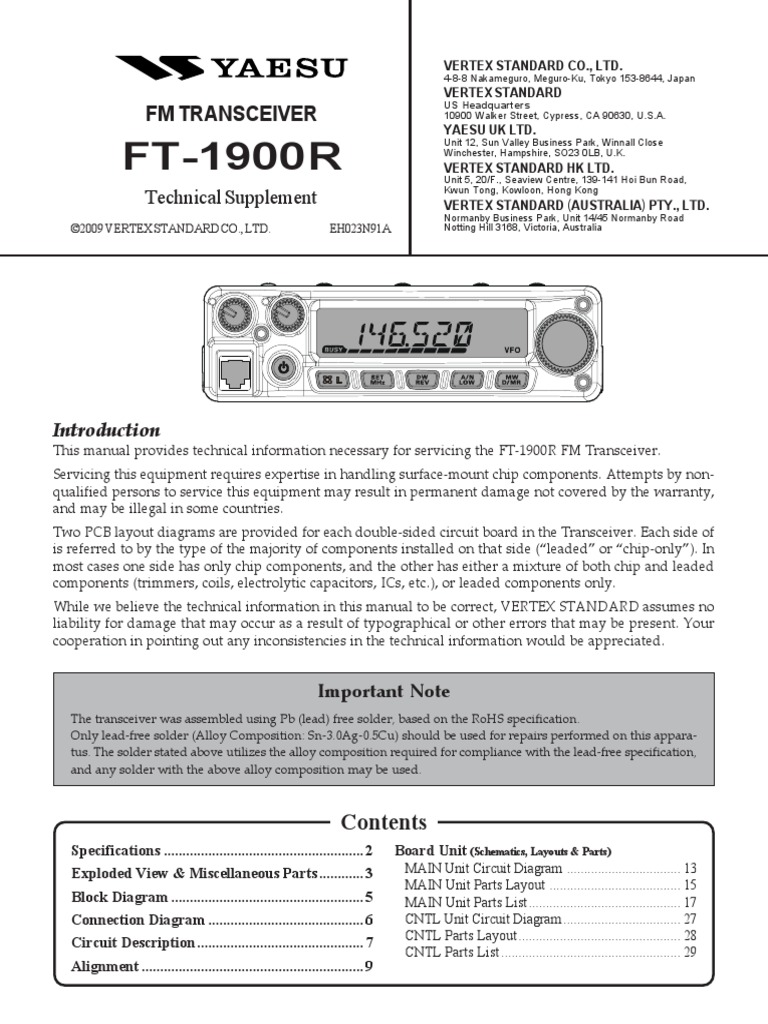 yaesu ft 1900r service manual amplifier electronic engineering rh scribd com Yaesu FT 5000 Problems Yaesu FT 5000 Problems