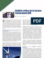 Analisis critico de Ia tercera convocatoria RER