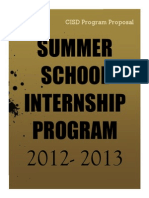 Summer Internship Proposal