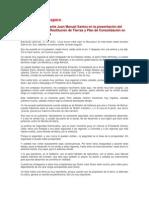 21-10-10 Palabras JM Santos en la presentación del Plan de Choque de Restitución de Tierras y Plan de Consolidación en los Montes de María