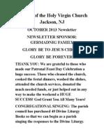 Nativity of the Holy Virgin Church - Newsletter #14
