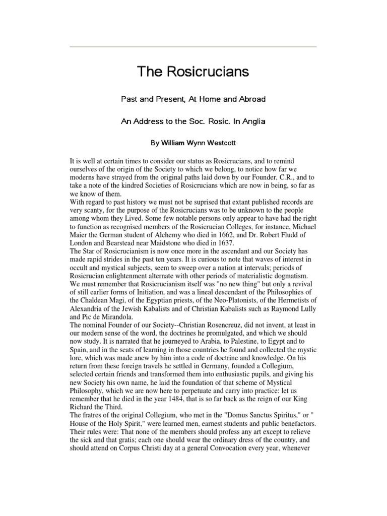william wynn wescott - the rosicrucians (5 pgs) | Rosicrucianism