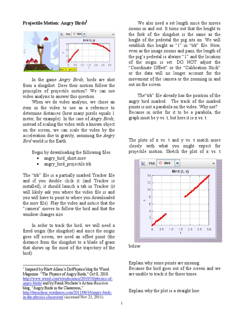 Worksheets Projectile Motion Worksheet With Answers angry birds lab velocity gravity assist