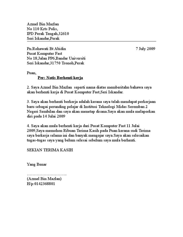 Surat Rasmi Notis Perletakan Jawatan Kerja Kosi