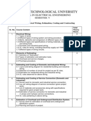 Electrical Wiring Estimating And Costing - Wiring Diagram Center